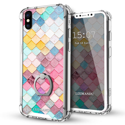 iPhone X Case,LIZI MANDU Ring Holder Kickstand Flexible TPU Soft Textured Pattern Case For iPhone X(Mermaid)
