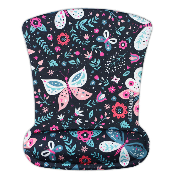 LIZI MANDU Memory Foam Mouse Pad Mat with Wrist Rest(Black Butterfly)
