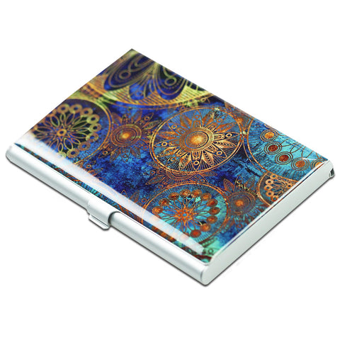 LIZI MANDU Credit Card Holder - Business Card Holders - Credit Card Holder Business ID Card Case(Blue Flower)