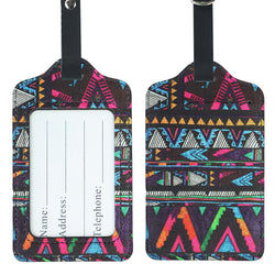 Lizimandu PU Leather Luggage Tags Suitcase Labels Bag Travel Accessories - Set of 2(Africa Culture)