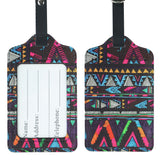 LIZI MANDU PU Leather Luggage Tags Suitcase Labels Bag Travel Accessories - Set of 2(Africa Culture)