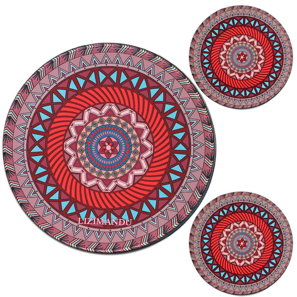 LIZI MANDU Anti Slip Soft Comfort Round Mouse Pad, Reward Rubber Coasters 2 Pack(Dark Red)