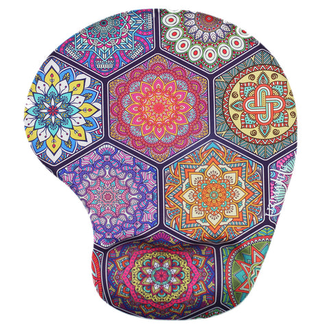 LIZI MANDU Memory Foam Non Slip Mouse Pad Wrist Rest For Office, Computer, Laptop & Mac - Durable & Comfortable & Lightweight For Easy Typing & Pain Relief-Ergonomic Support(Hexagonal Boho)