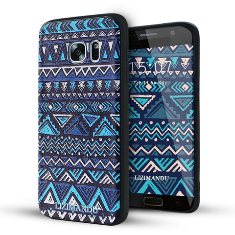 Samsung Galaxy S7 Case,LIZI MANDU Soft TPU textured pattern Case for Samsung Galaxy S7(Dark Blue Aztec)