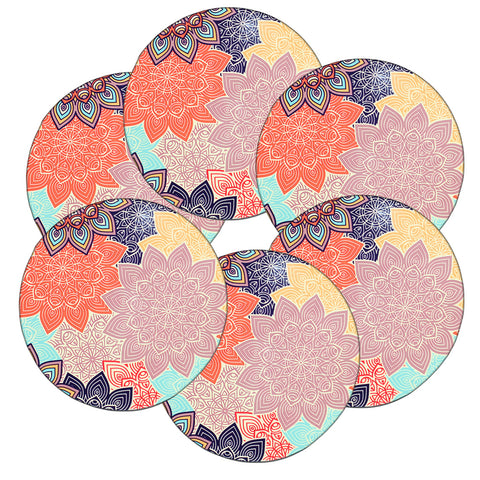 LIZI MANDU Coasters Set of 6 - Rubber Coasters Protect Furniture From Water Marks & Damage - 3.7 inch Perfect Soft Coaster Fits Any Size of Drinking Glasses(Colorful Flower)