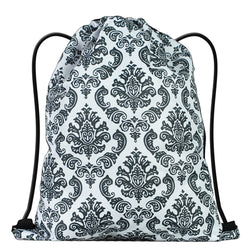 LIZI MANDU Print Drawstring Backpack Rucksack Shoulder Bags Gym Bag(Lace Flower Black)