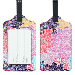 Lizimandu PU Leather Luggage Tags Suitcase Labels Bag Travel Accessories - Set of 2(Colorful Flower)