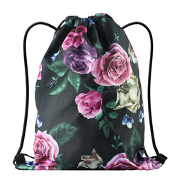 LIZI MANDU Print Drawstring Backpack Rucksack Shoulder Bags Gym Bag(Black Rose)