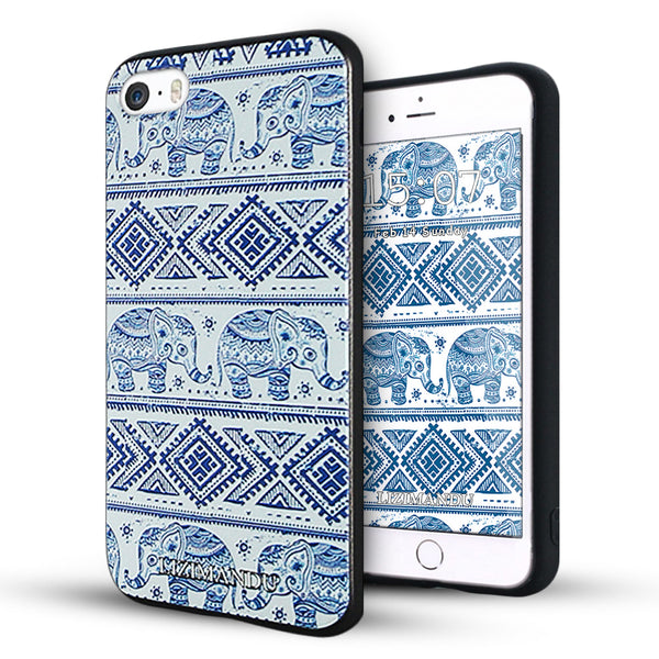 iPhone 5s Case,LIZI MANDU Soft TPU textured pattern Case for iPhone 5s/5/se(Elephant)