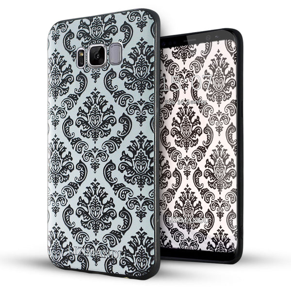 Samsung Galaxy S8 Plus Case,LIZI MANDU Soft TPU textured pattern Case for Samsung Galaxy S8 Plus(Lace Flower Black)