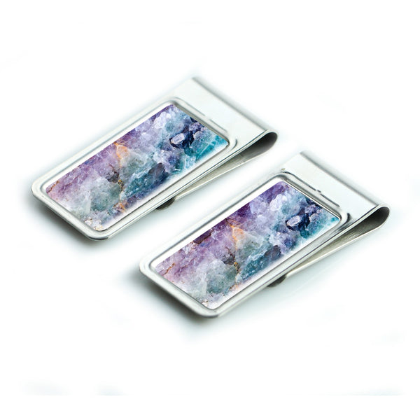 LIZI MANDU Silver Stainless Steel Slim Money Clip, Cash Money Clip Credit Card Holder(Crystal)