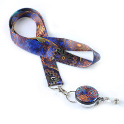 Lanyard & Badge Reel,LIZI MANDU Retractable Badge Holder Carabiner Reel Clip On ID Card Holders(Blue Flower)