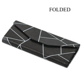 Foldable Glasses Case, Glasses Case, Hard Shell Protects & Stores Reading Eyeglasses and Medium Eyewear, Bonus Cleaning Cloth, By LIZI MANDU(Black Fragment)
