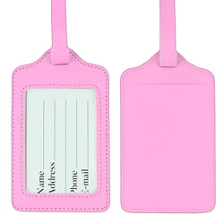 LIZI MANDU PU Leather Luggage Tags Suitcase Labels Bag Travel Accessories - Set of 2(Pink)