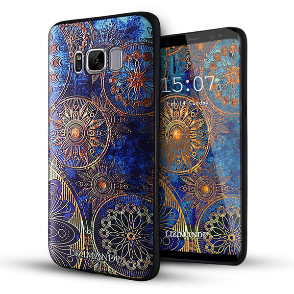 Samsung Galaxy S8 Plus Case,LIZI MANDU Soft TPU textured pattern Case for Samsung Galaxy S8 Plus(Blue Flower)
