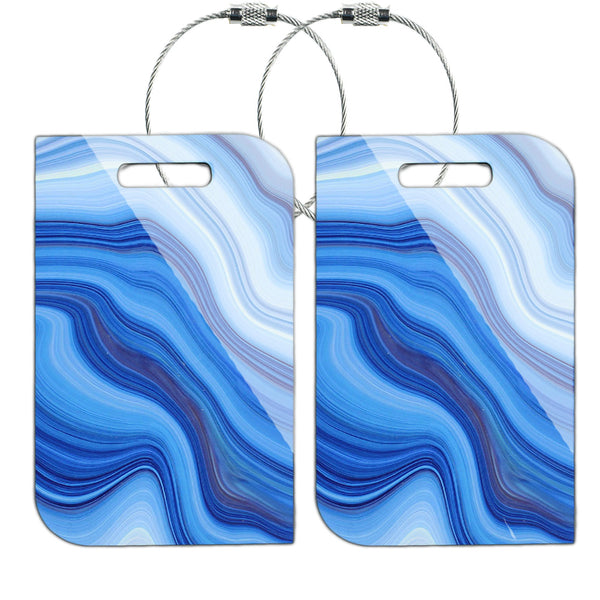 LIZI MANDU MDF Wood Luggage Tags Suitcase Labels Bag - Set of 2(Blue Stone)
