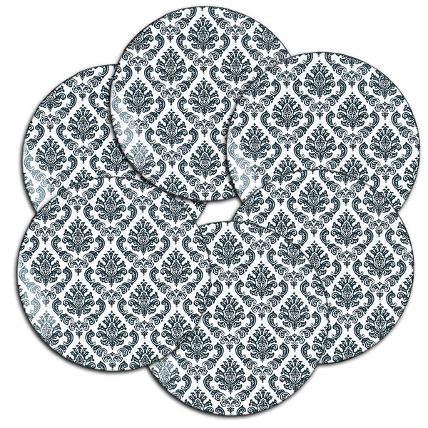 LIZI MANDU Coasters Set of 6 - Rubber Coasters Protect Furniture From Water Marks & Damage - 3.7 inch Perfect Soft Coaster Fits Any Size of Drinking Glasses(Lace Flower Black)