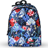 LIZI MANDU Backpack for Girls and Women Casual Canvas School Backpack Sports Travel Bag(Blue Square Flower)