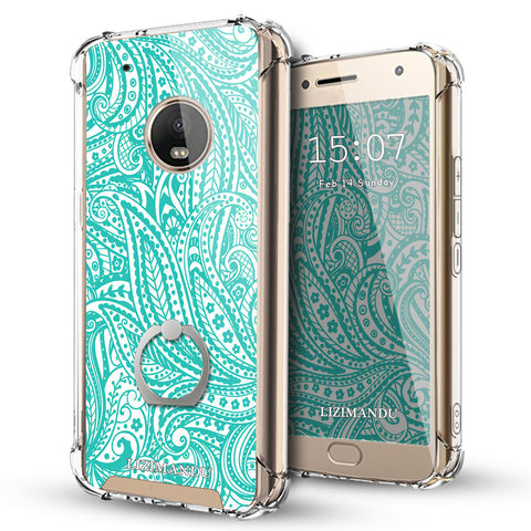 Moto G5 Plus Case,Lizimandu Ring Holder Kickstand Flexible TPU Soft Textured Pattern Case For Moto G5 Plus(Spiral)