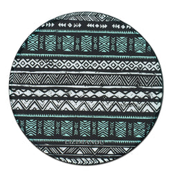 Mouse Pad (9.8 inch x 9.8 inch) ,LIZI MANDU Premium Quality Pattern Anti Slip Computer PC Round Mouse Mat Soft Comfort Feel Finish(White Blue Aztec)