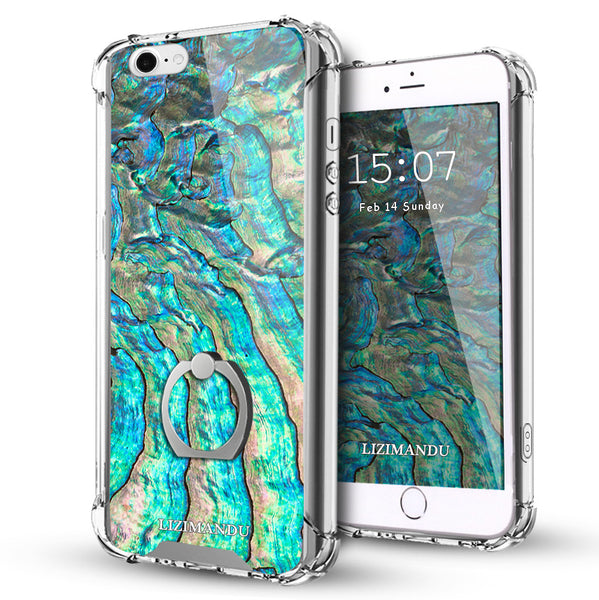 iPhone 5S Case,LIZI MANDU Ring Holder Kickstand Flexible TPU Soft Textured Pattern Case For iPhone 5 5S SE(Abalone Shell1)
