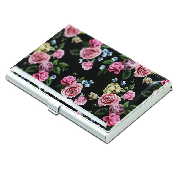 LIZI MANDU Credit Card Holder - Business Card Holders - Credit Card Holder Business ID Card Case(Black Rose)