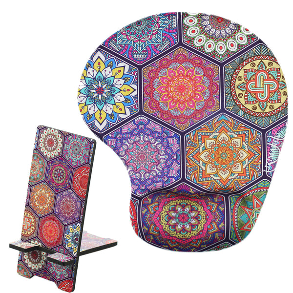 LIZI MANDU Memory Foam Non Slip Mouse Pad With Wrist Support And Cell Phone Stand - Durable,Comfortable,Lightweight For Easy Typing & Pain Relief(Hexagon Boho)