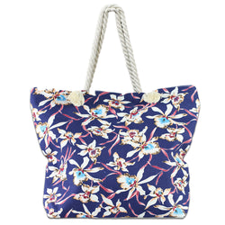 LIZI MANDU Beach Bag Canvas Tote Bag With Inner Zipper Pocket - Tote with Rope Handles(Dark Blue Flower)