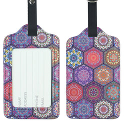 Lizimandu PU Leather Luggage Tags Suitcase Labels Bag Travel Accessories - Set of 2(Hexagon Bohemia)