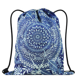LIZI MANDU Print Drawstring Backpack Rucksack Shoulder Bags Gym Bag(Sky Blue Flowers)
