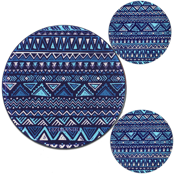 LIZI MANDU Anti Slip Soft Comfort Round Mouse Pad, Reward Rubber Coasters 2 Pack(Dark Blue Boho)