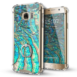 Samsung Galaxy S7 Case,Lizimandu Ring Holder Kickstand Flexible TPU Soft Textured Pattern Case For Samsung Galaxy S7(Abalone Shell1)