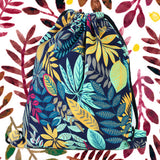 LIZIMANDU Print Drawstring Backpack Rucksack Shoulder Bags Gym Bag(Maple Blue)