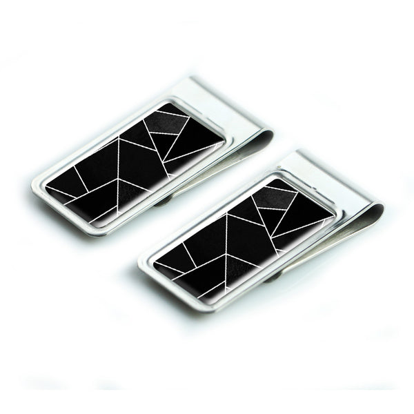LIZI MANDU Silver Stainless Steel Slim Money Clip, Cash Money Clip Credit Card Holder(Black Fragment)