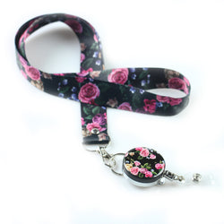 Lanyard & Badge Reel,LIZI MANDU Retractable Badge Holder Carabiner Reel Clip On ID Card Holders(Black Rose)
