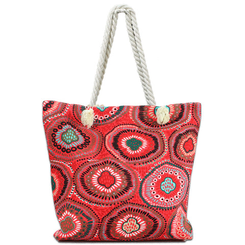 LIZI MANDU Beach Bag Canvas Tote Bag With Inner Zipper Pocket - Tote with Rope Handles(Red Flower)