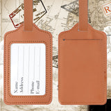 LIZI MANDU PU Leather Luggage Tags Suitcase Labels Bag Travel Accessories - Set of 2(Brown)