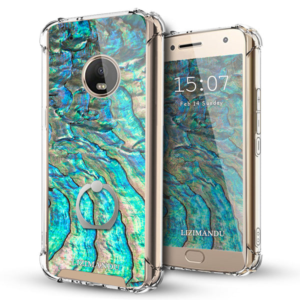 Moto G5 Plus Case,LIZI MANDU Ring Holder Kickstand Flexible TPU Soft Textured Pattern Case For Moto G5 Plus(Abalone Shell1)