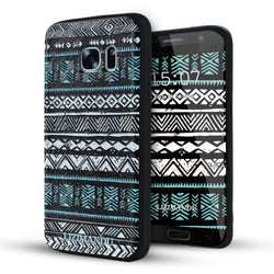 Samsung Galaxy S7 Case,LIZI MANDU Soft TPU textured pattern Case for Samsung Galaxy S7(White Blue Aztec)