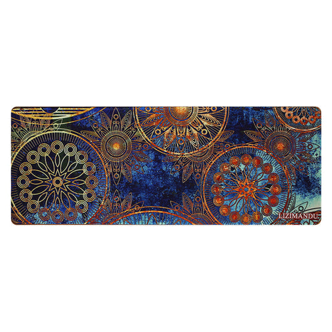 Large Gaming Mouse Pad(78 cm x 30 cm x 0.2cm) ,LIZI MANDU Premium Quality Pattern Anti Slip Stitched Edges Computer PC Keyboard Mouse Mat Soft Comfort Feel Finish(Blue Flower)