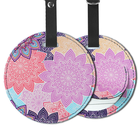 LIZI MANDU PU Leather Round Luggage Tags Suitcase Labels Bag - Set of 2(Colorful Flower)