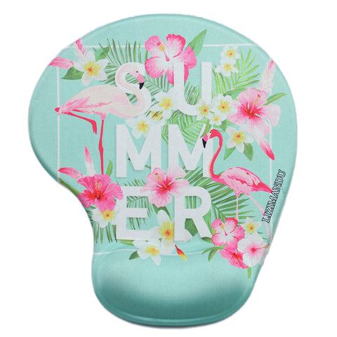 LIZI MANDU Memory Foam Non Slip Mouse Pad Wrist Rest For Office, Computer, Laptop & Mac - Durable & Comfortable & Lightweight For Easy Typing & Pain Relief-Ergonomic Support(Flamingo)
