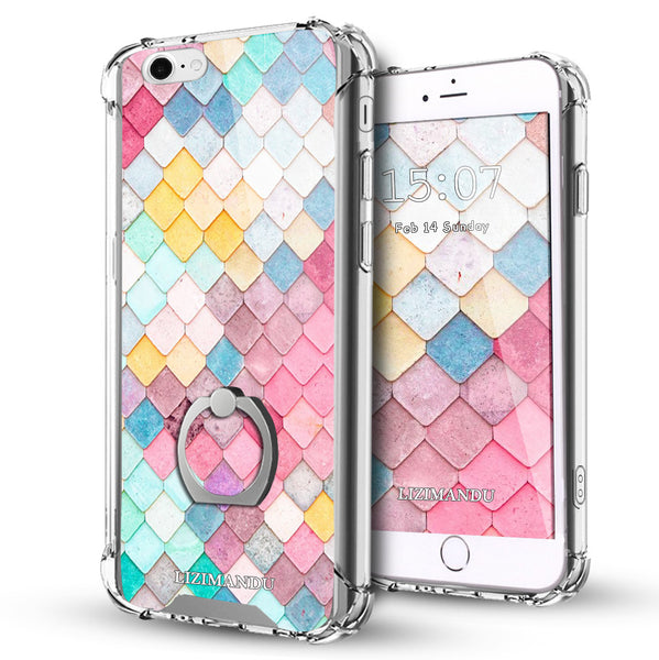 iPhone 6S Case,LIZI MANDU Ring Holder Kickstand Flexible TPU Soft Textured Pattern Case For iPhone 6(Mermaid)