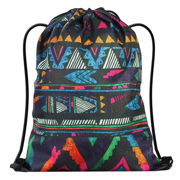 LIZI MANDU Print Drawstring Backpack Rucksack Shoulder Bags Gym Bag(Africa Culture)