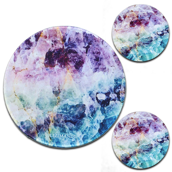 LIZI MANDU Anti Slip Soft Comfort Round Mouse Pad, Reward Rubber Coasters 2 Pack(Crystal)
