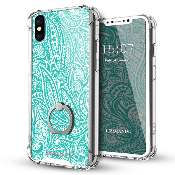 iPhone X Case,LIZI MANDU Ring Holder Kickstand Flexible TPU Soft Textured Pattern Case For iPhone X(Spiral)