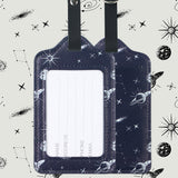 LIZI MANDU PU Leather Luggage Tags Suitcase Labels Bag Travel Accessories - Set of 2(Space)