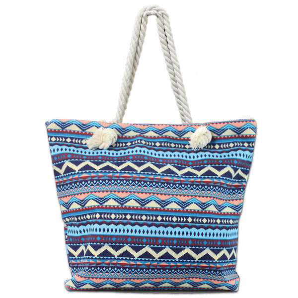 LIZI MANDU Beach Bag Canvas Tote Bag With Inner Zipper Pocket - Tote with Rope Handles(Blue Bohemia)