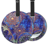 LIZI MANDU PU Leather Round Luggage Tags Suitcase Labels Bag - Set of 2(Blue Flower)