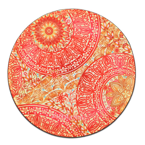 Mouse Pad (9.8 inch x 9.8 inch) ,LIZI MANDU Premium Quality Pattern Anti Slip Computer PC Round Mouse Mat Soft Comfort Feel Finish(Red Flower)